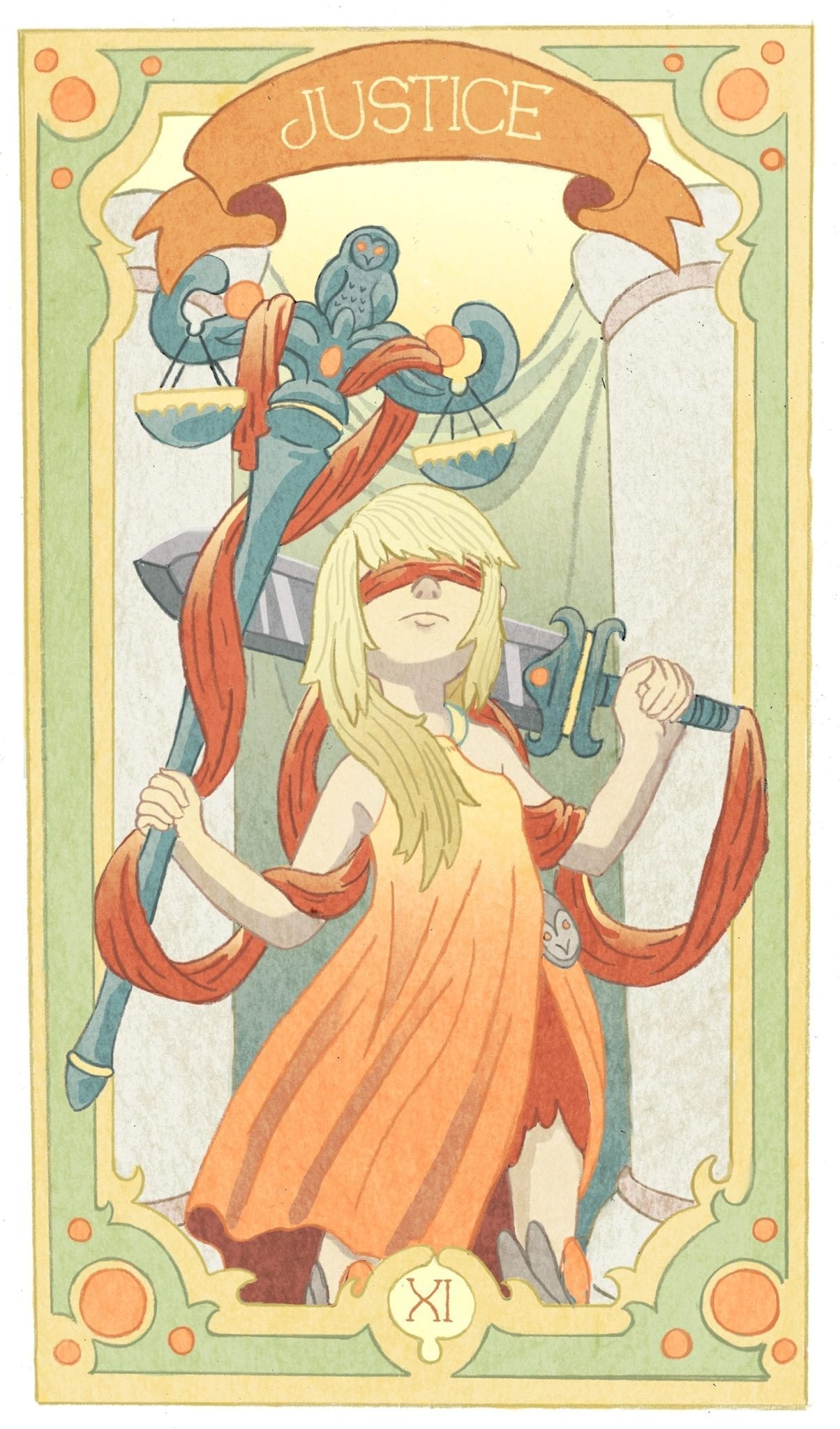 justice tarot illustration