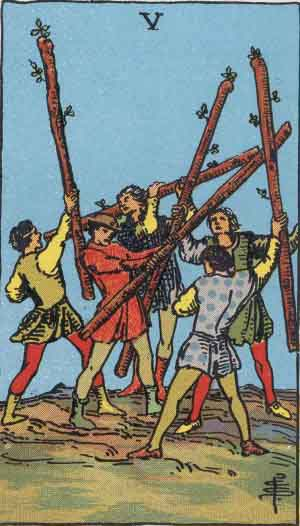 five of wands, rider-waite