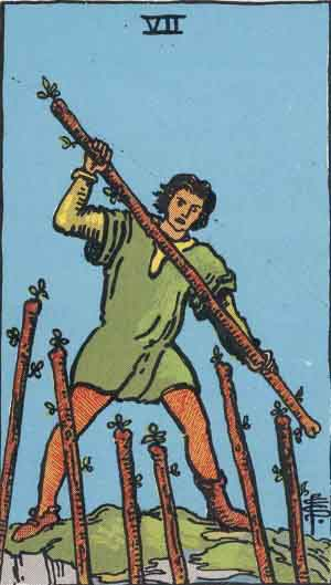 seven of wands, rider-waite