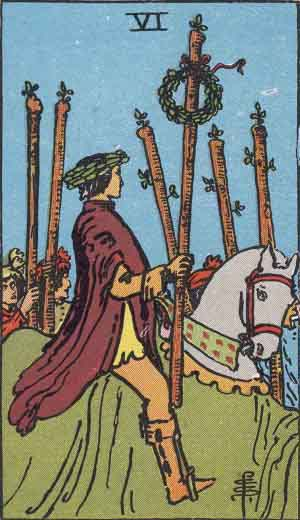 six of wands, rider-waite