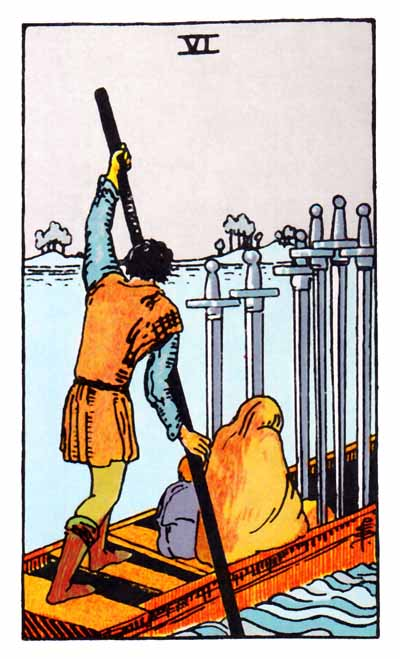 six of swords card, rider-waite