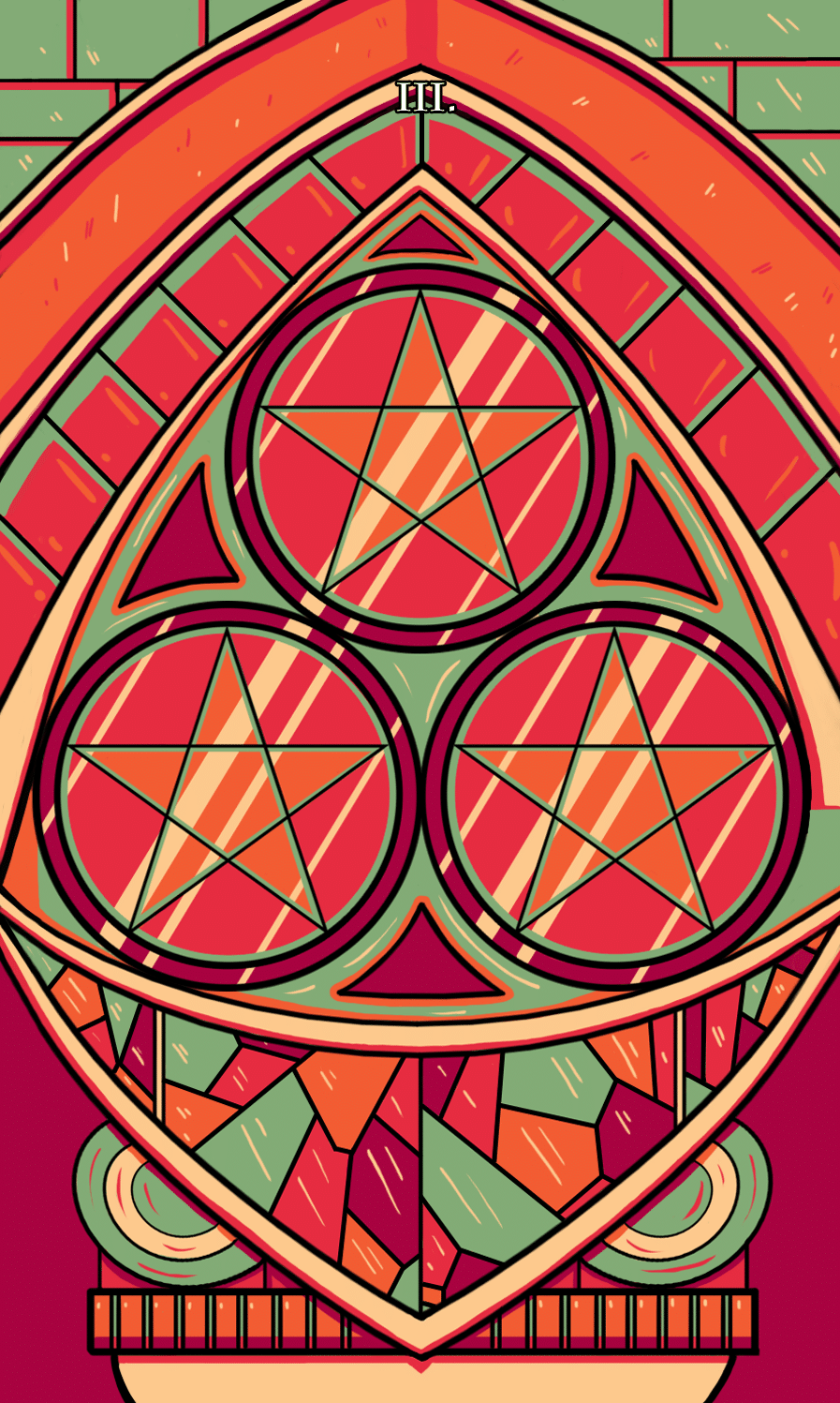 three of pentacles tarot illustration