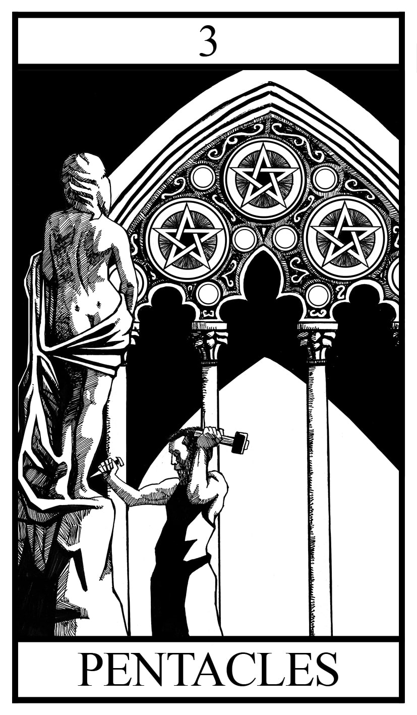 three of pentacles illustration