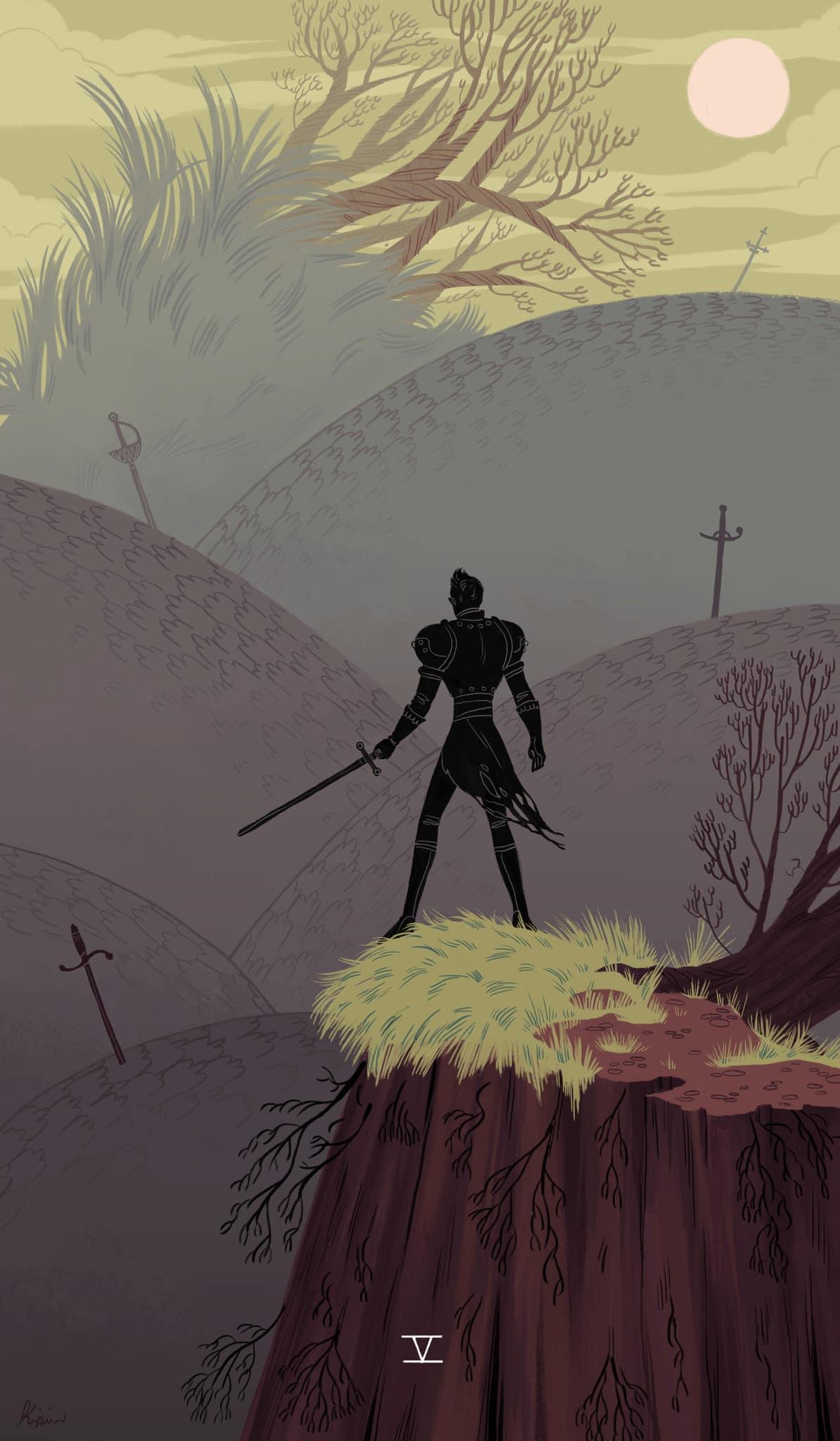 five of swords tarot illustration
