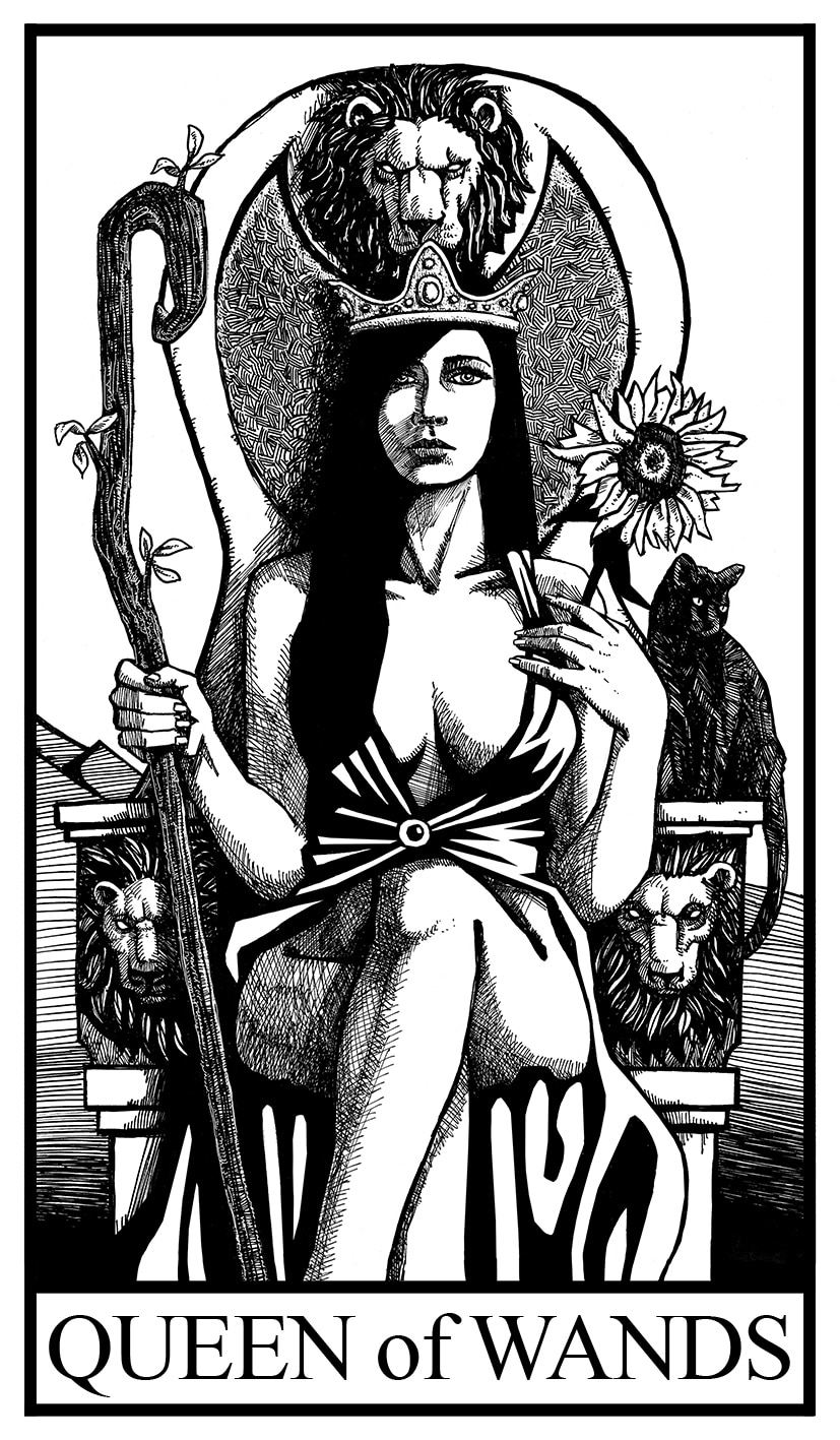 queen of wands illustration