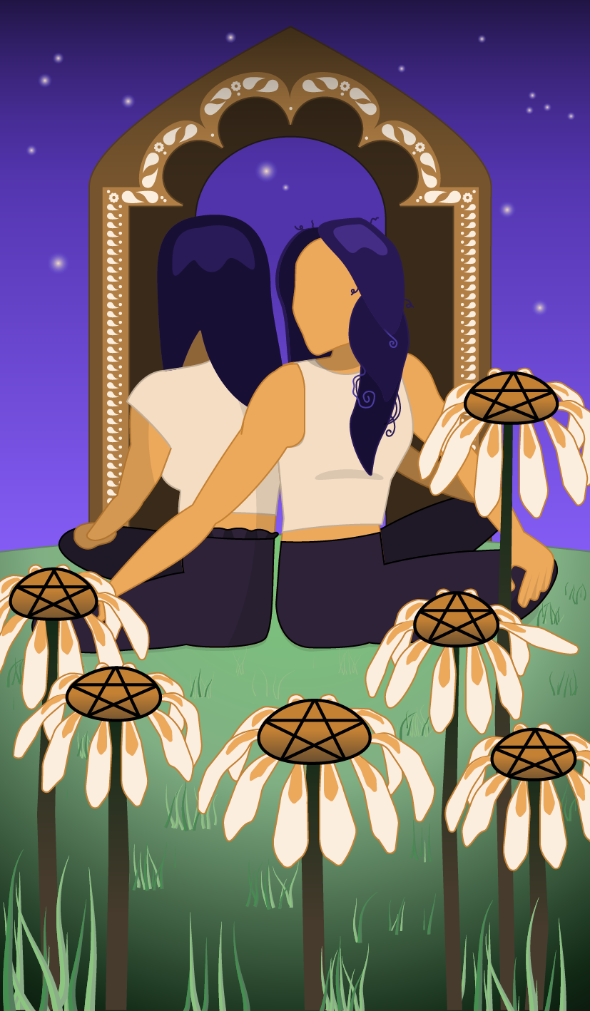 six pentacles illustration