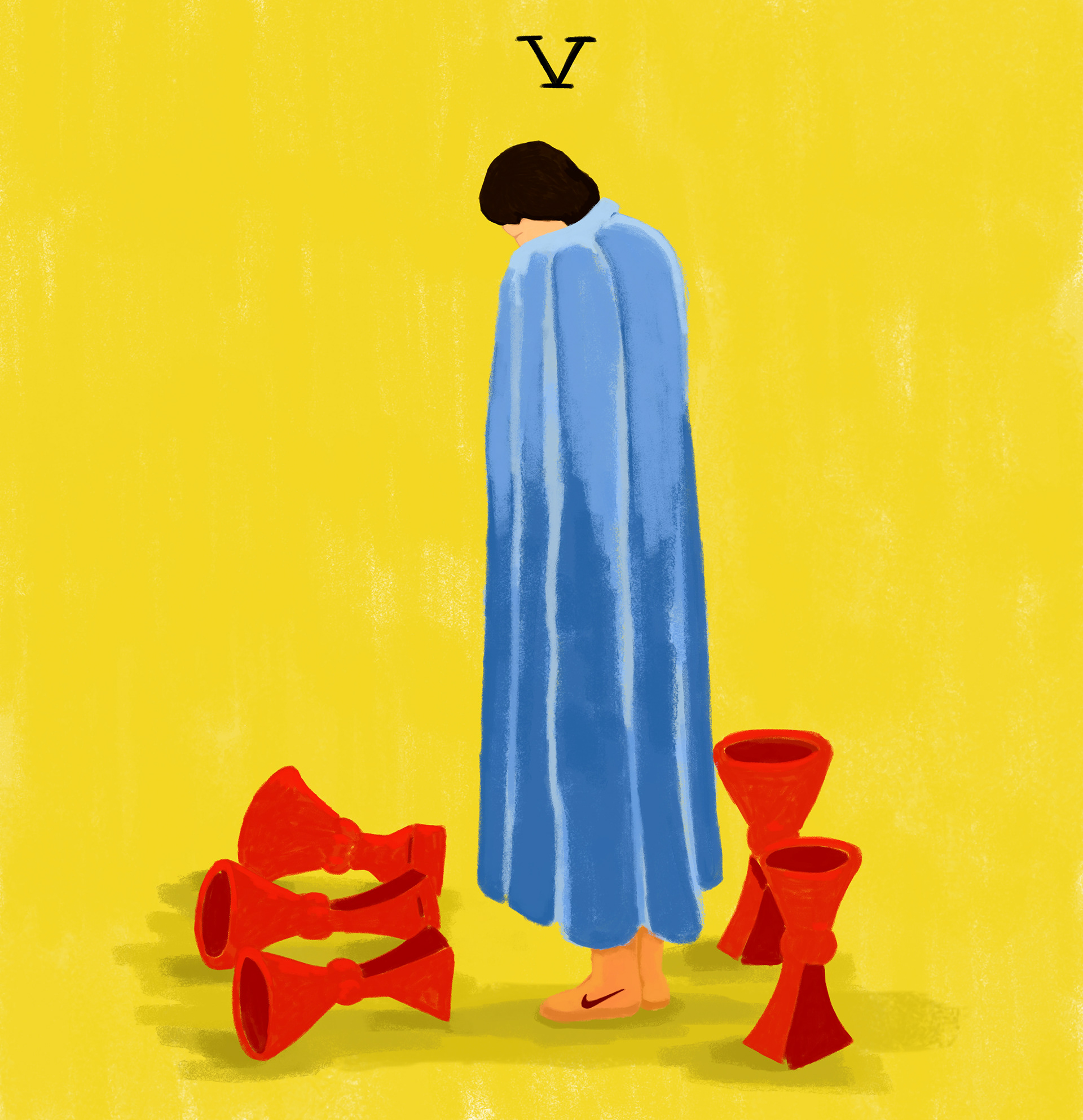 five cups tarot illustration
