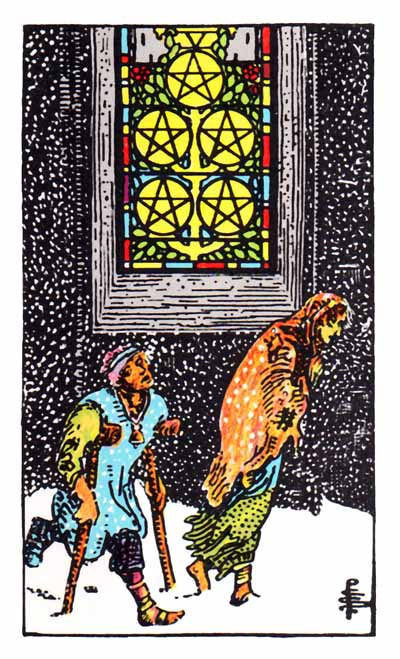 5 of pentacles rider-waite