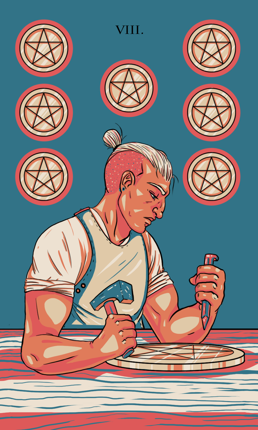 eight of pentacles illustration
