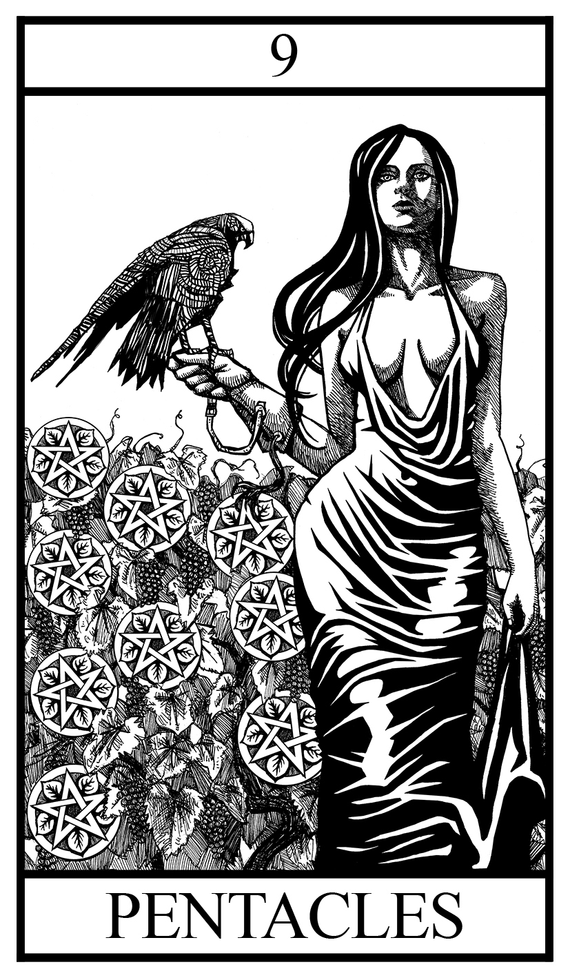 nine of pentacles illustration