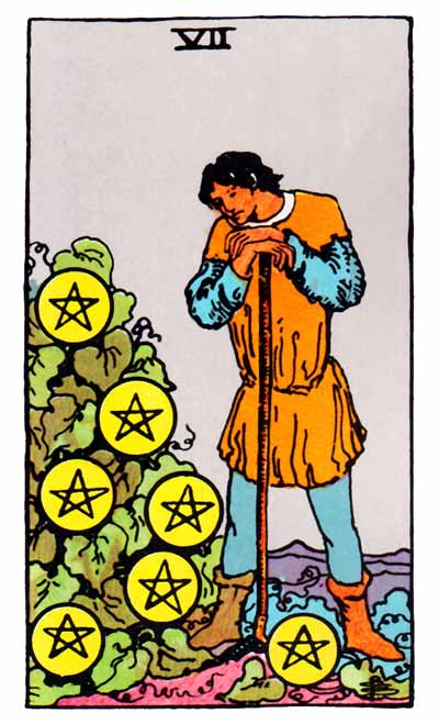 seven of pentacles rider-waite