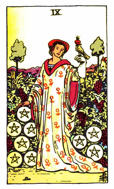 nine of pentacles, rider-waite