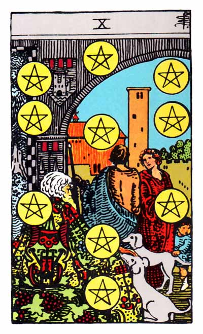 ten of pentacles, rider waite card